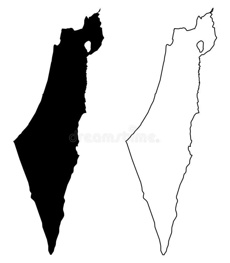 Simple only sharp corners map of Israel including Palestine -. Gaza strip and West bank vector drawing. Mercator projection. Filled and outline version vector illustration