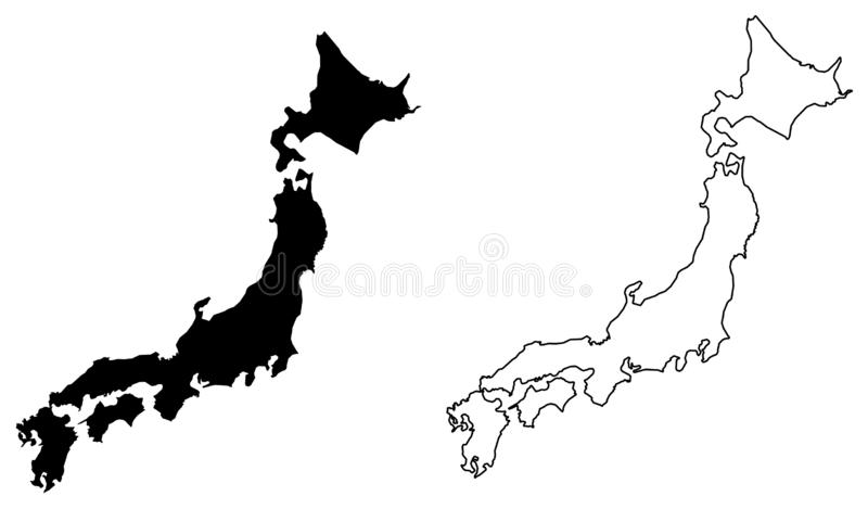 Simple only sharp corners map of Japan vector drawing. Filled stock illustration