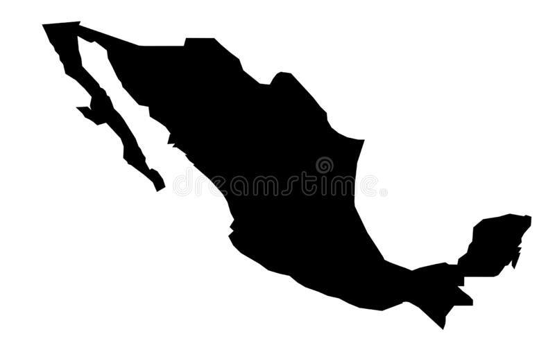Simple only sharp corners map of Mexico vector drawing. royalty free illustration