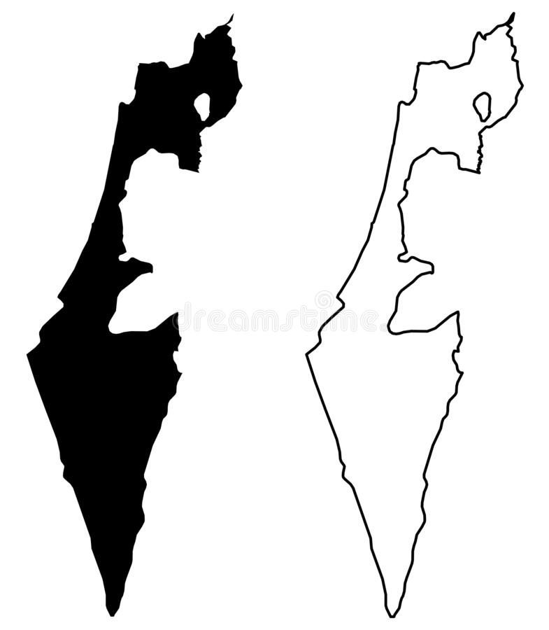 Simple only sharp corners map - State of Israel without Pales. Tine; excluding Gaza strip and West Bank vector drawing. Mercator projection. Filled and outline vector illustration