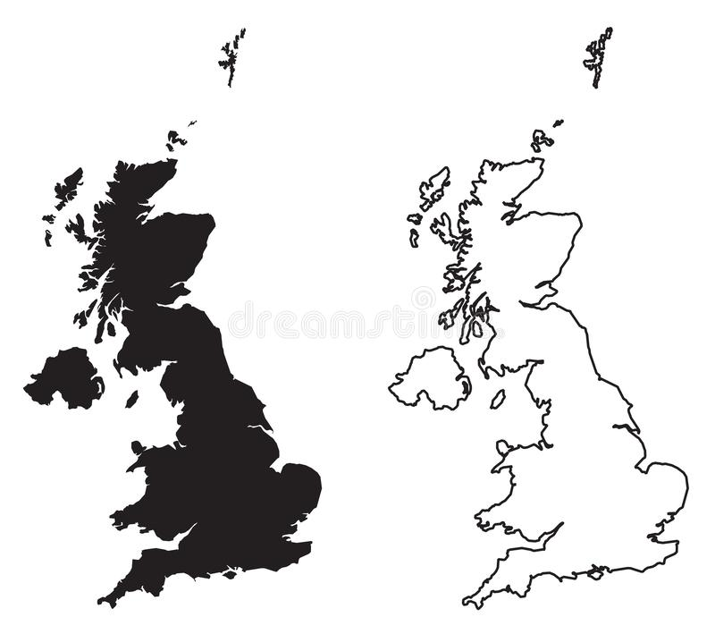 Simple only sharp corners map of - United Kingdom of Great Bri royalty free illustration