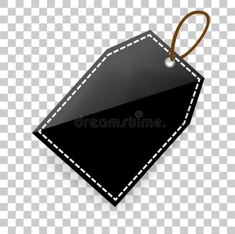 Simple shinning rectangle Blank Tag with soft shadow at transparent effect background stock illustration