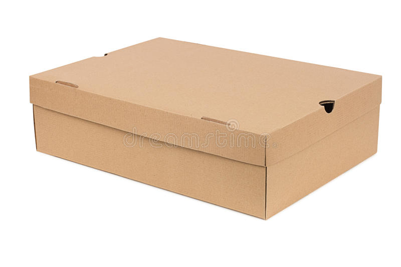 Simple shoe box. Isolated on white background royalty free stock photography