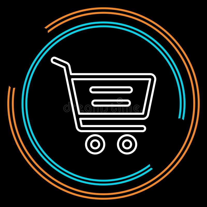 Simple Shopping Cart Thin Line Vector Icon vector illustration