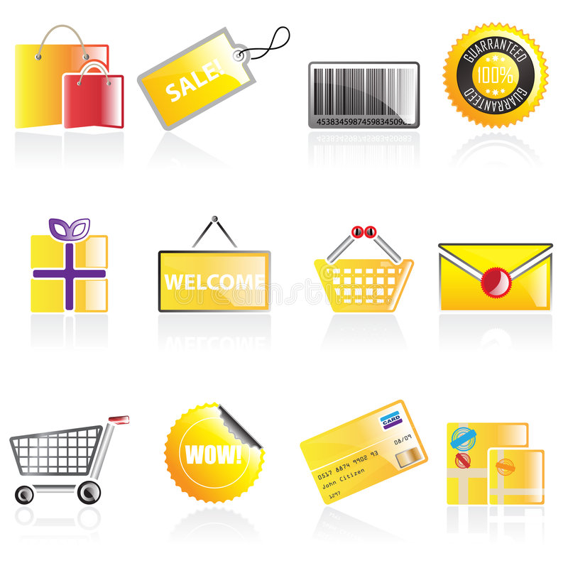 Download Simple Shopping Icons Royalty Free Stock Images - Image: 8733319