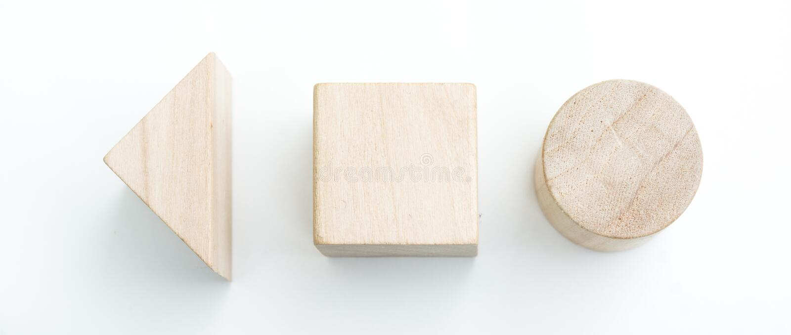 Simple signs. Made from wood blocks isolated over white stock image
