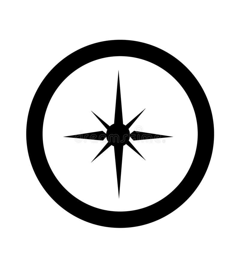 simple silueta mínima negra del compás ilustración del vector