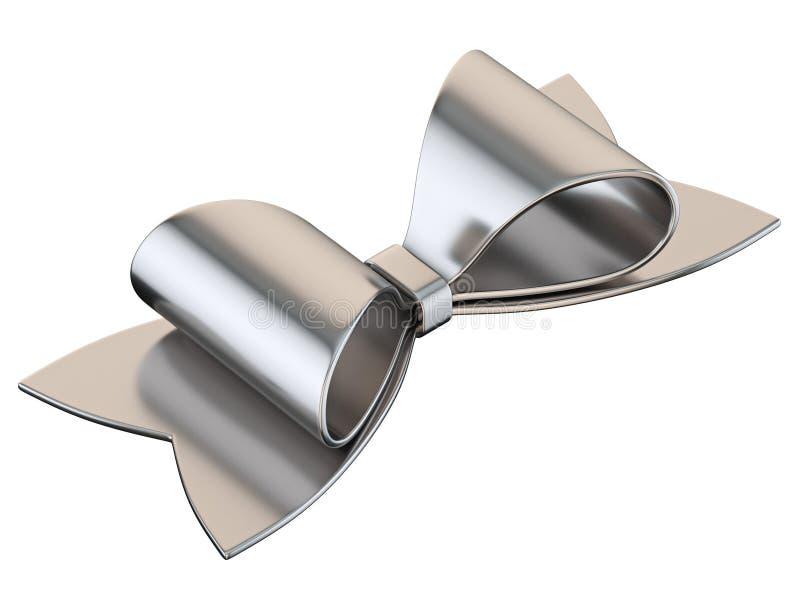Simple silver ribbon bow 3D stock photos