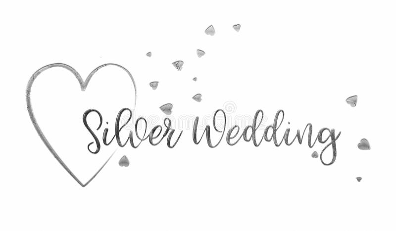 Simple, Silver Wedding Card. A simple, uncomplicated white Silver Wedding card or poster. The words `Silver Wedding` extend out from the centre of a silver heart stock illustration