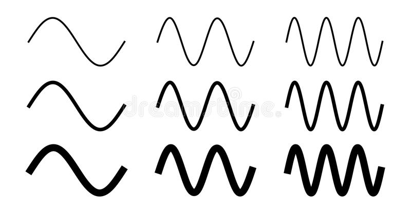 Simple sine wave drawing. One, two and three period with 3 different width. Simple sine wave drawing. One, two and three period with 3 different width vector illustration