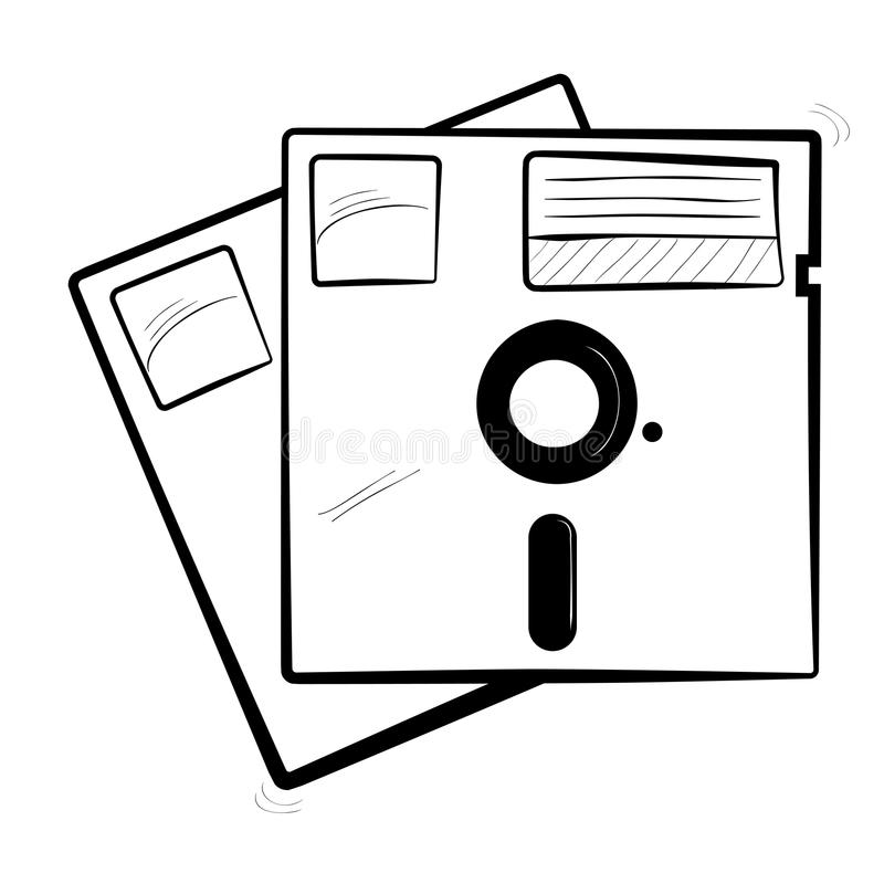 Simple sketch of diskette stock illustration