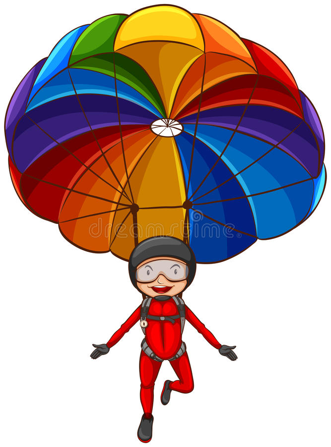 A simple sketch of a girl with a parachute vector illustration