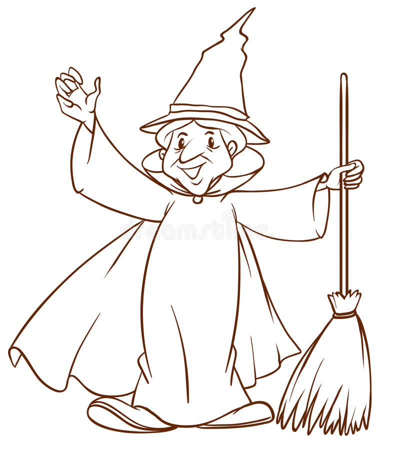 A simple sketch of a wizard. Illustration of a simple sketch of a wizard on a white background royalty free illustration