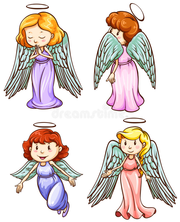 Simple sketches of angels vector illustration