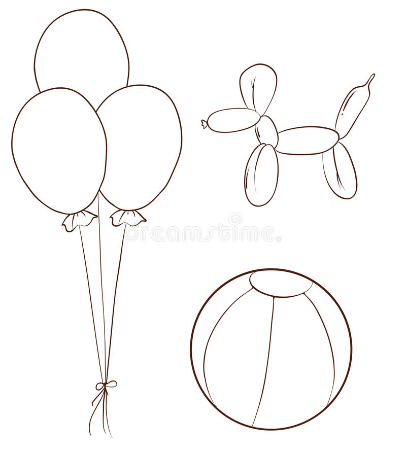 Simple Sketches Of The Balloons And A Ball Stock Vector ...
