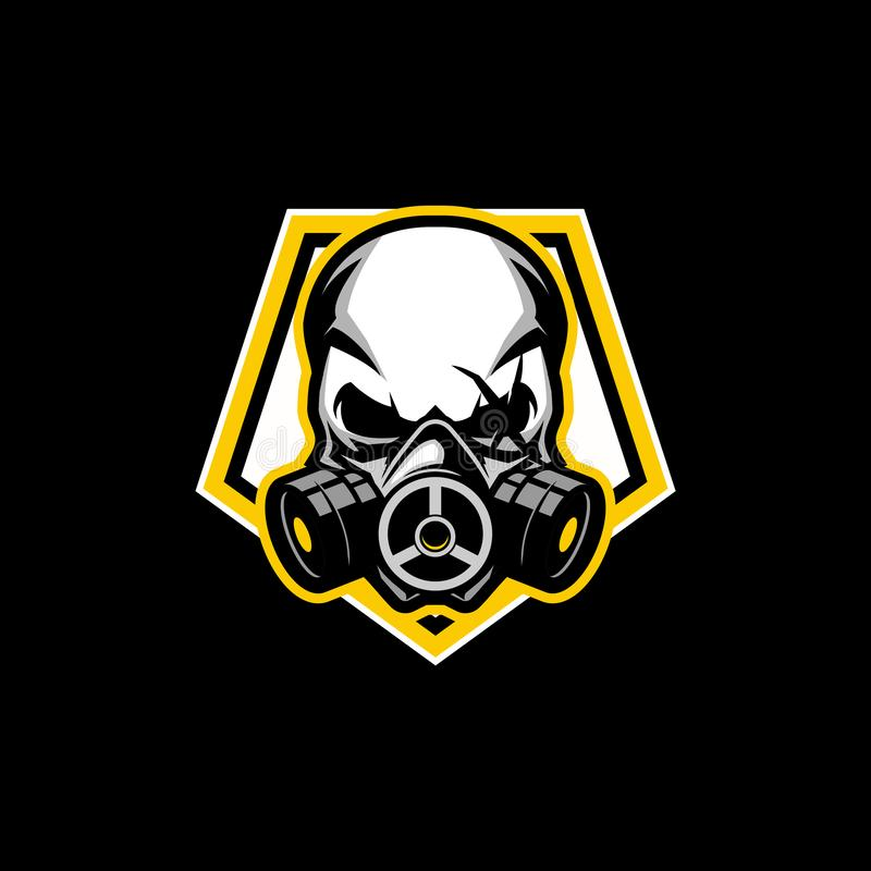 Simple skull gas mask with Pentagon shape vector badge logo template. Simple and modern sign sport theme skull gas mask with Pentagon shape vector badge logo stock illustration