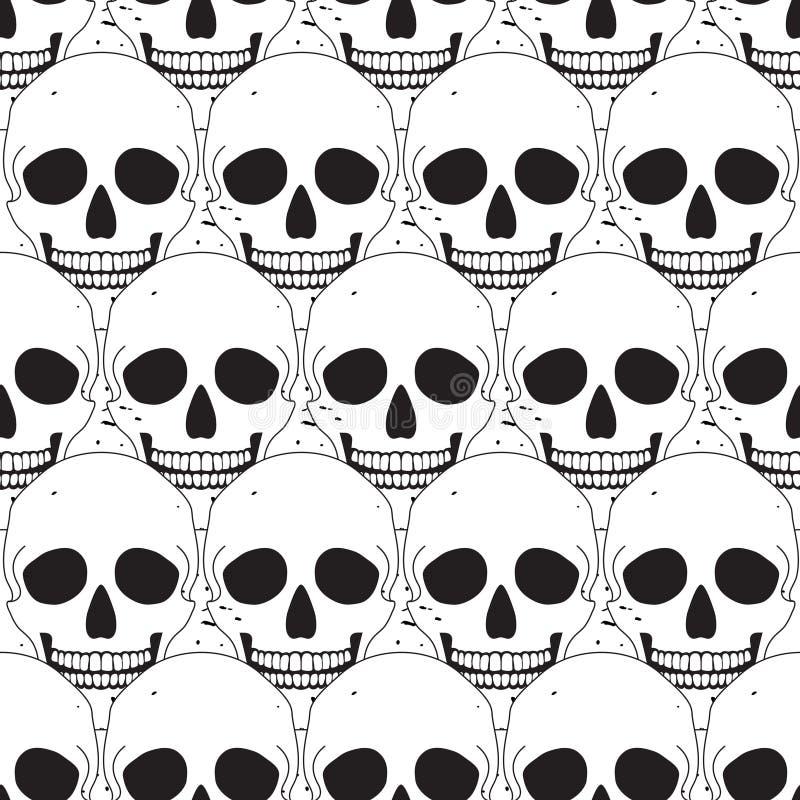 Simple skull seamless pattern stock illustration