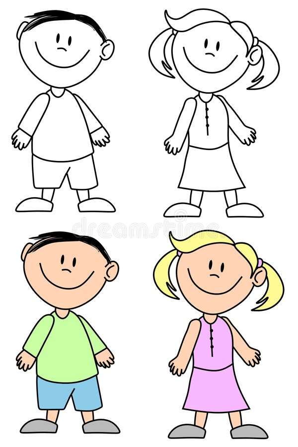 Simple Smiling Kids stock illustration