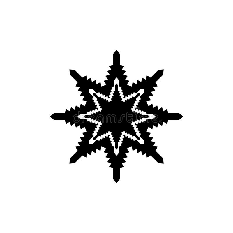 Simple snowflake in black over white background. Flat design icon. vector illustration