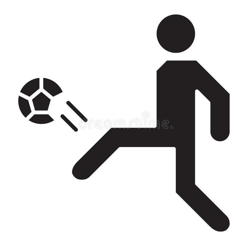 Simple Soccer Player Goal Kick Related Vector Flat Icon. Glyph S. Tyle. 128x128 Pixel stock illustration