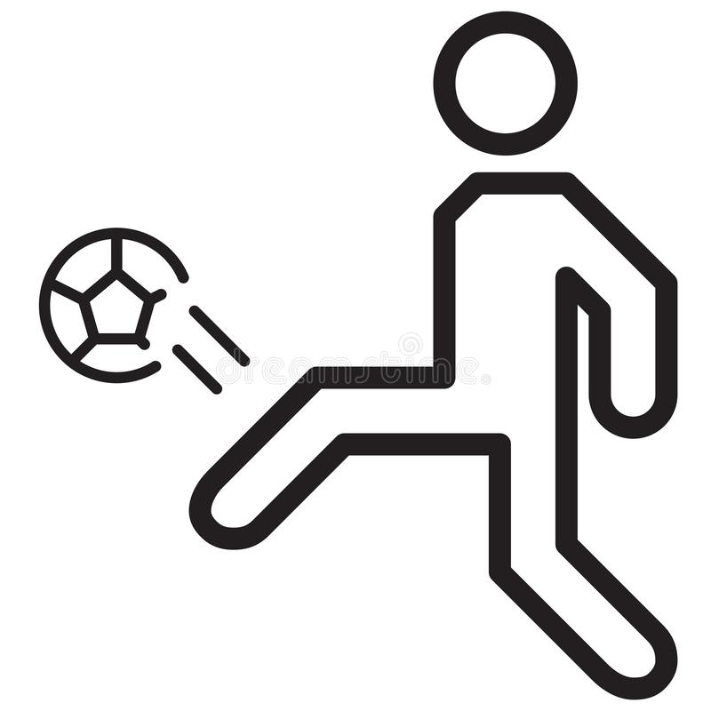 Simple Soccer Player Goal Kick Related Vector Line Icon. Outline. Style. Editable Stroke. 128x128 Pixel Perfect stock illustration