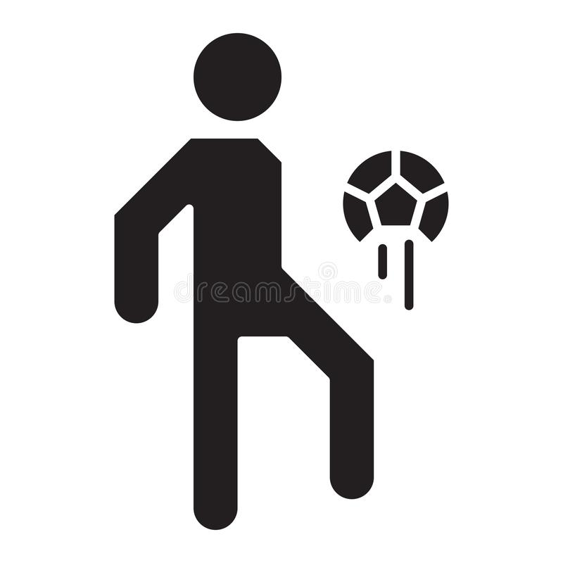 Simple Soccer Player Juggling Ball Related Vector Flat Icon. Glyph Style. 128x128 Pixel. vector illustration