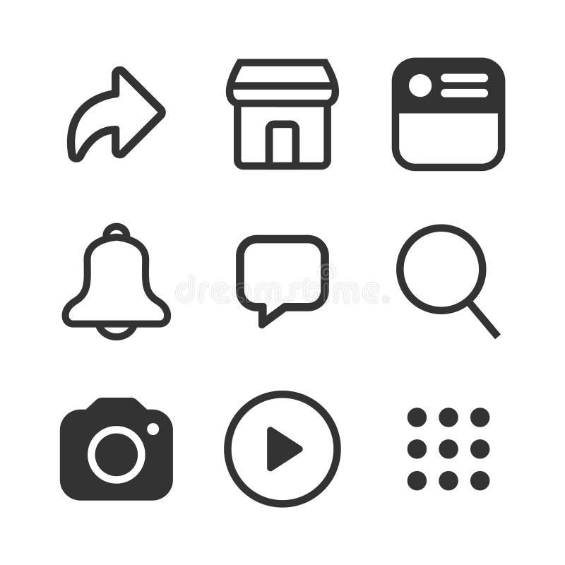 Simple social media icon set, vector illustration vector illustration