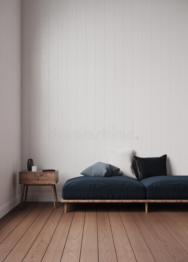 Simple sofa in white room 3d rendering royalty free stock photography