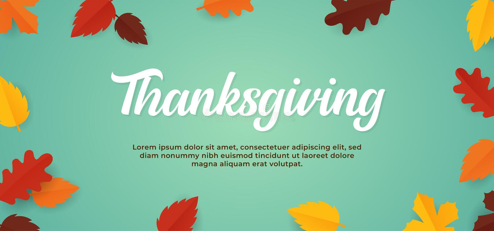 Simple soft color Thanksgiving background text with fall dry leaves vector illustration banner template. Eps 10 vector illustration