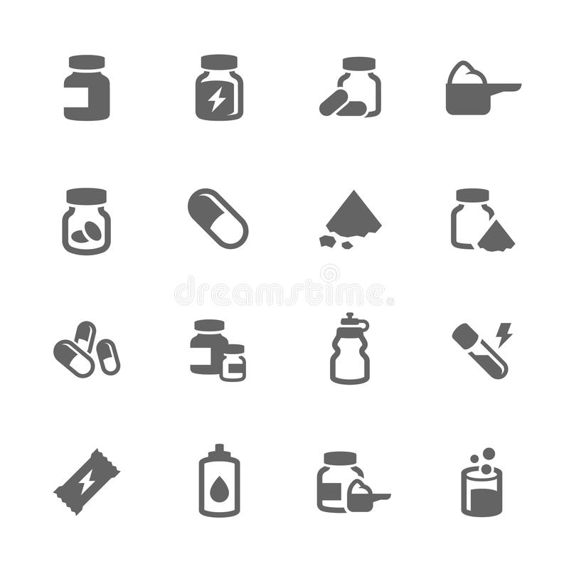 Simple Sport Supplements Icons. Simple Set of Sport Supplements Related Vector Icons for Your Design vector illustration