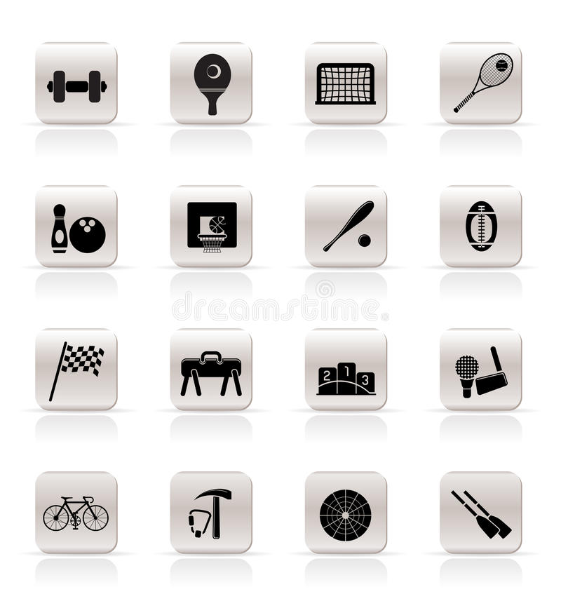 Download Simple Sports Gear And Tools Icons Stock Vector - Image: 9851823