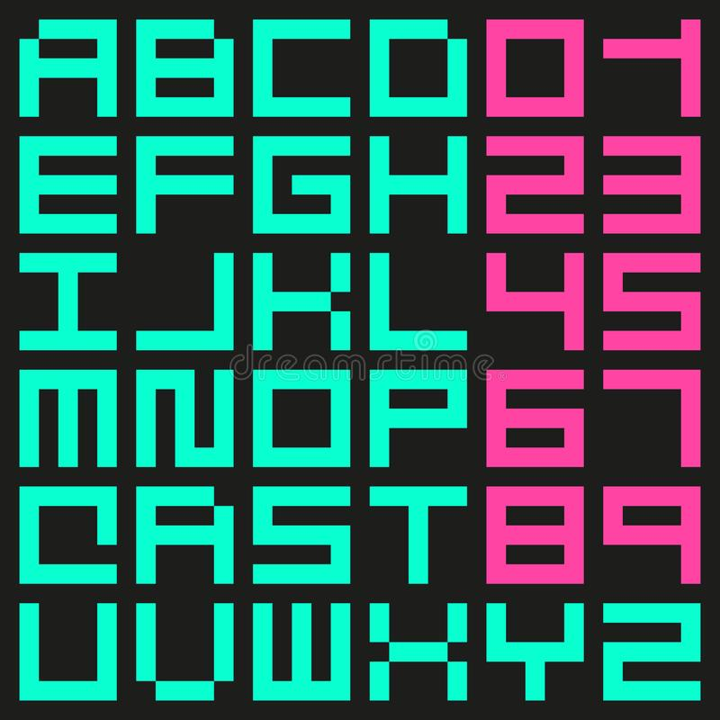 Small Pixel Font Stock Vector. Illustration Of Bold