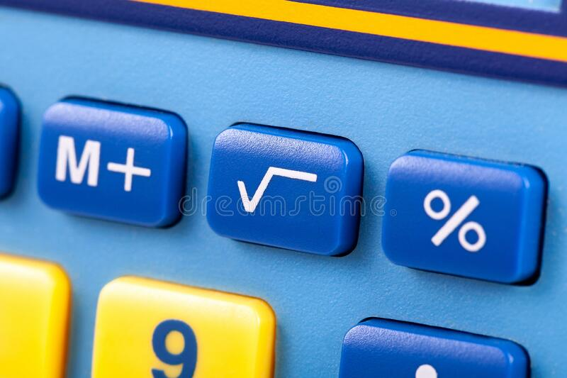 Simple square root symbol button on a colorful calculator keypad macro, closeup. Basic algebra symbols, easy math nomenclature. Learning mathematics, finances stock photography