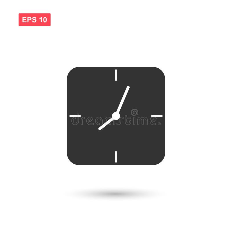 Simple square wall clock vector icon isolated 2 stock illustration