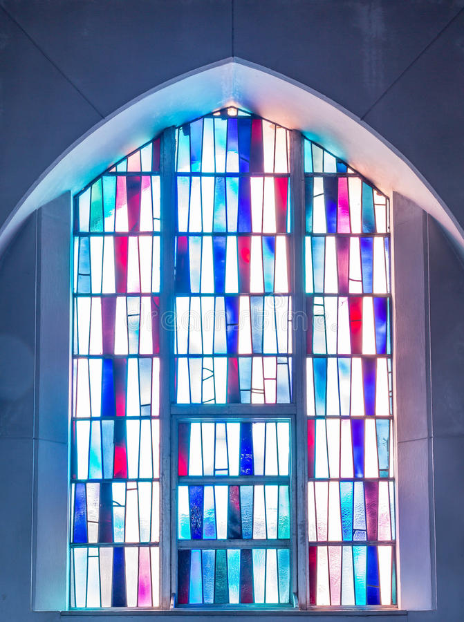 Download Simple Stained Glass Panels In Church Window Stock Image