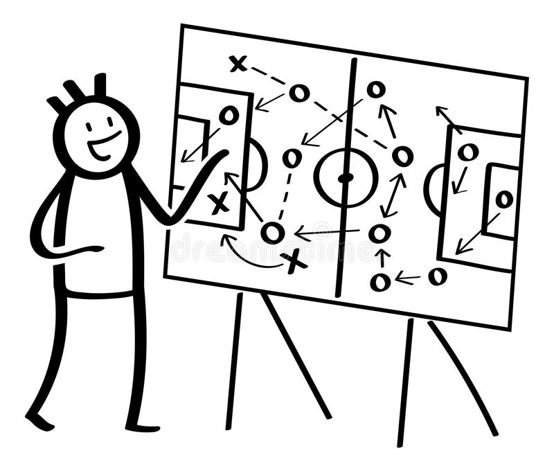 Simple stick figure explaining football tactics, pointing at coach board. Black and white vector illustration. Isolated on white background royalty free illustration