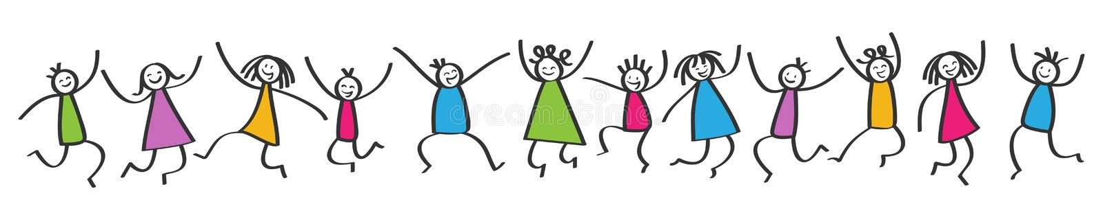 Simple stick figures banner, happy colorful kids jumping, hands in the air stock illustration