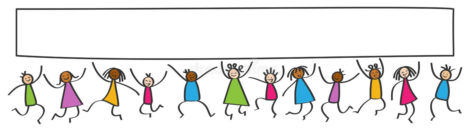 Simple stick figures banner, happy multicultural kids jumping, blank white poster board stock illustration