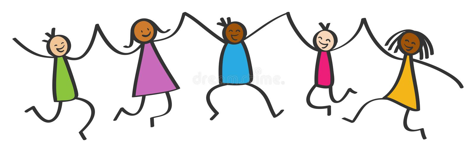 Simple stick figures, five happy multicultural kids jumping, holding hands, smiling and laughing vector illustration