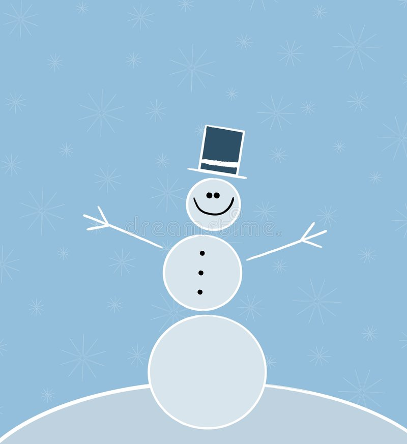 Free Simple Stick Snowman 2 Royalty Free Stock Image - 6855636