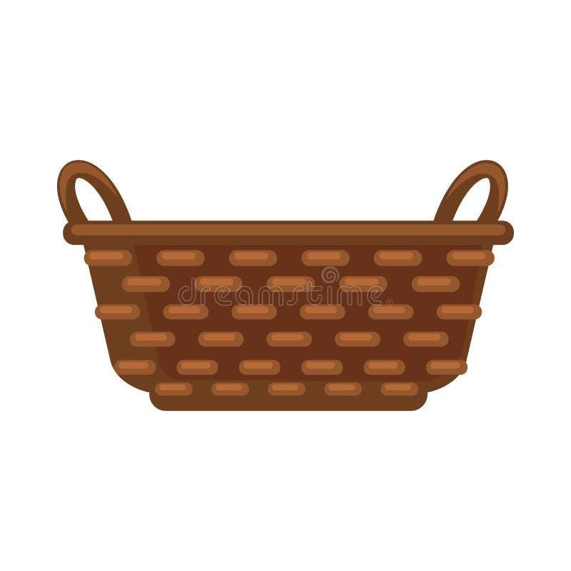 Simple straw basket. Vector illustration of dark brown straw basket isolated on white stock illustration