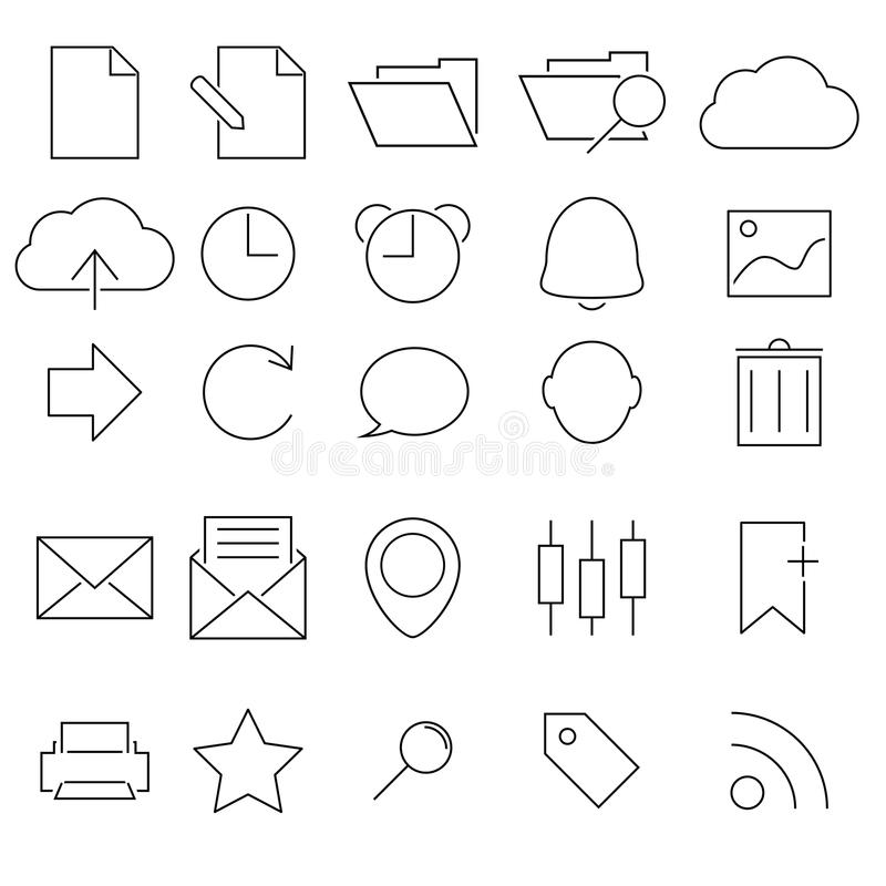 Download Simple Stroked icon set stock vector. Illustration of picture - 32149283