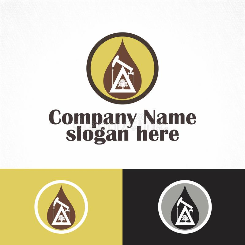 Oil rig strong nad simple logo royalty free stock photos