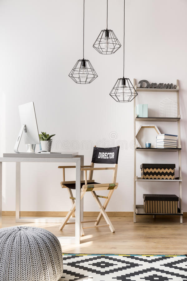 Simple style home office idea stock images