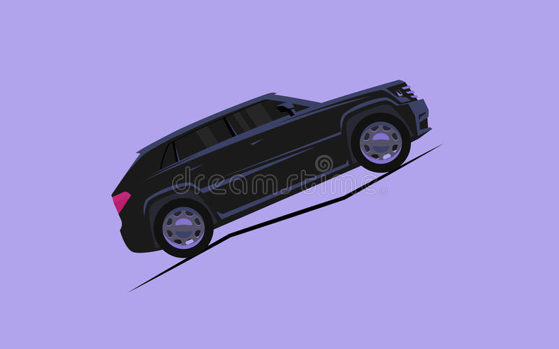 Simple stylized car rides up the mountain royalty free illustration