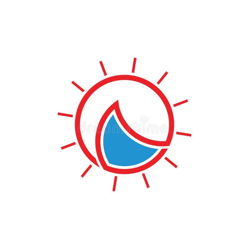 Simple sun rays waves geometric outline circle logo vector stock illustration