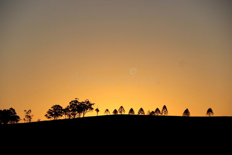 Simple Sunset @ Campbelltown, NSW, Australia. An attempt to take a landscape photo of sunset with shadows in a manner as simple as possible stock image