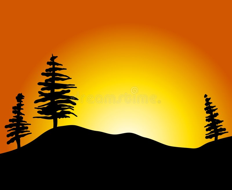 Download Simple Sunset With Trees Hill Stock Illustration
