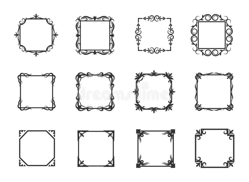 Simple swirl thin line floral frames and linear flourish borders for download simple swirl thin line floral frames and linear flourish borders for invitations vector illustration stock stopboris Image collections