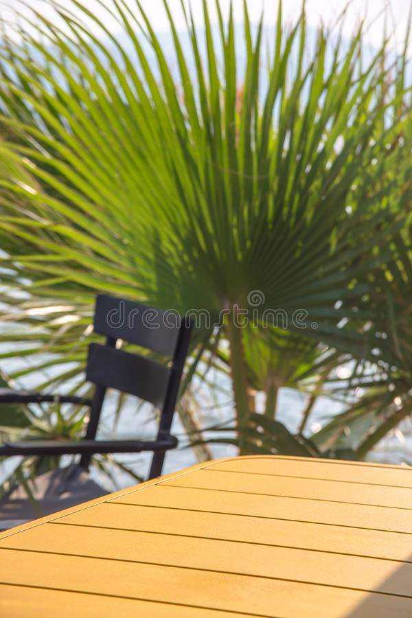 A simple table next to chairs and green palm branches. Copy space royalty free stock photo